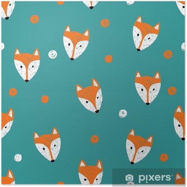 Zelfklevende Poster Fox naadloos patroon. Doodle achtergrond. -
