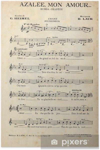 Zelfklevende Poster Franse antieke vintage muziek blad. - Grafische Bronnen