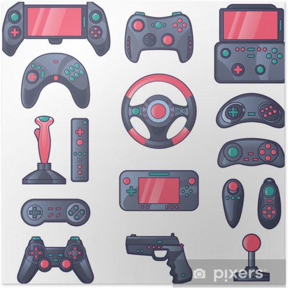 Zelfklevende Poster Gamegadget gekleurde pictogrammen instellen - Grafische Bronnen