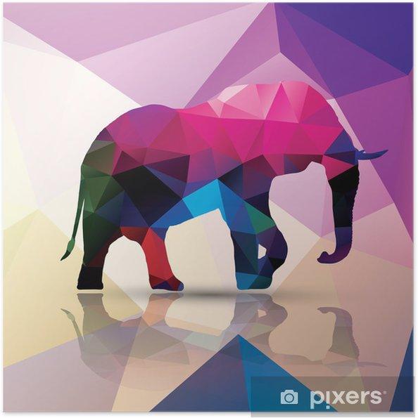 Zelfklevende Poster Geometrische veelhoekig olifant, patroon ontwerp, vector - Thema's