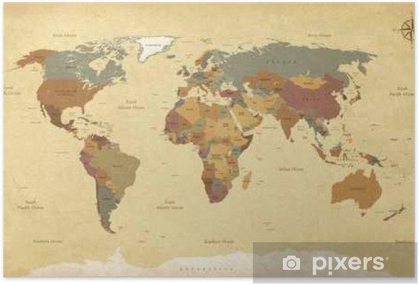 Zelfklevende Poster Gestructureerde vintage kaart van de wereld - Engels / Amerikaanse Labels - Vector CMYK - Reizen