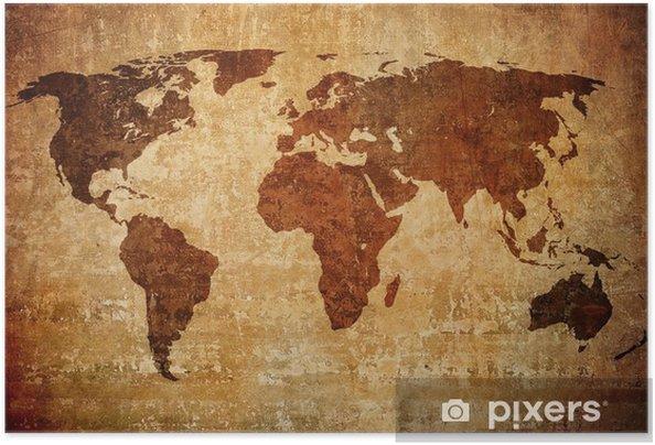 Zelfklevende Poster Grunge kaart van de wereld - Thema's