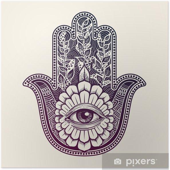 Zelfklevende Poster Hamsa. de hand van Fatima, good luck symbool - Religie en Cultuur