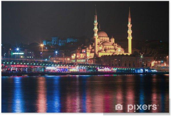Zelfklevende Poster Istanboel bij nacht - Midden Oosten