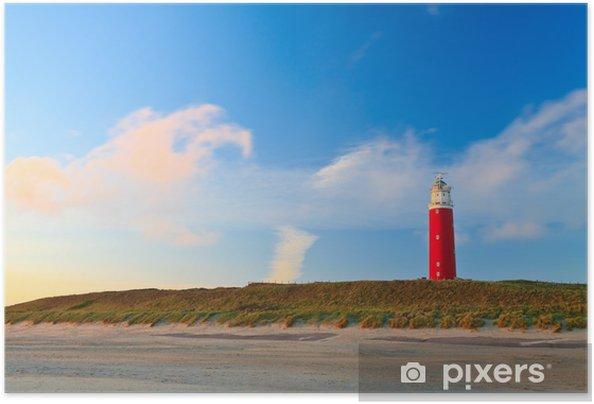 Zelfklevende Poster Kust met zandduinen en vuurtoren bij zonsondergang - Europa