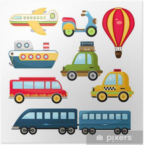 Zelfklevende Poster Leuke Vector Transport - Bestemmingen