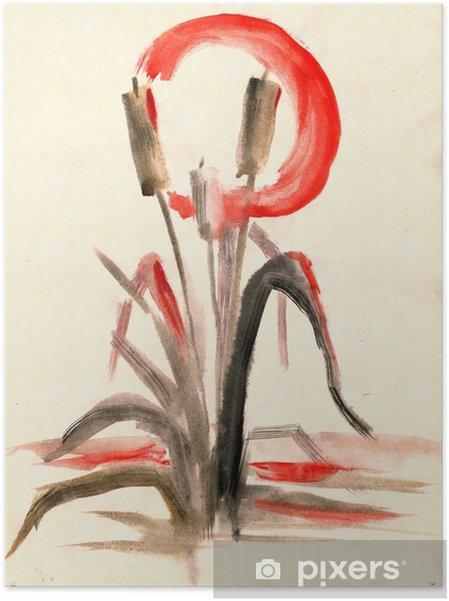 Zelfklevende Poster Lisdodde, tekening in een traditionele Aziatische stijl - Bloemen en Planten