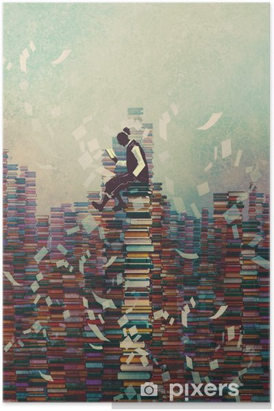 Zelfklevende Poster Man het lezen van boek zittend op stapel boeken, kennis concept, illustratie painting - Hobby's en Vrije tijd