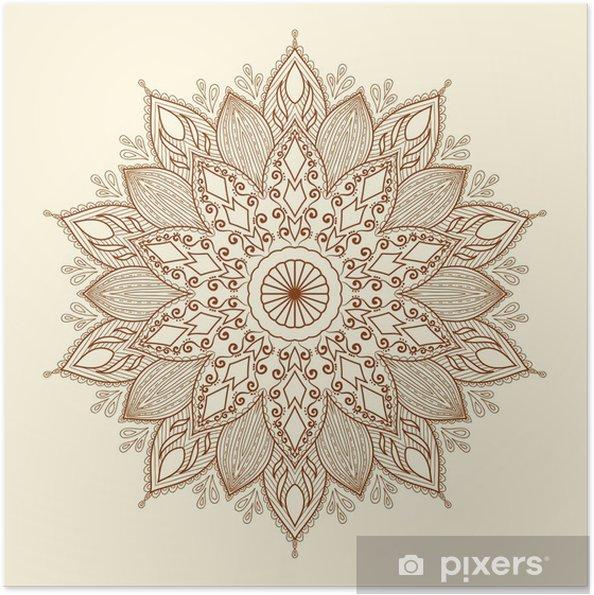 Zelfklevende Poster Mandala. Mooie hand getekende bloem. - Stijlen