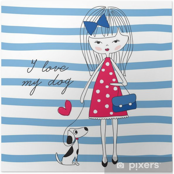 Zelfklevende Poster Meisje met hond vector illustratie - Mensen