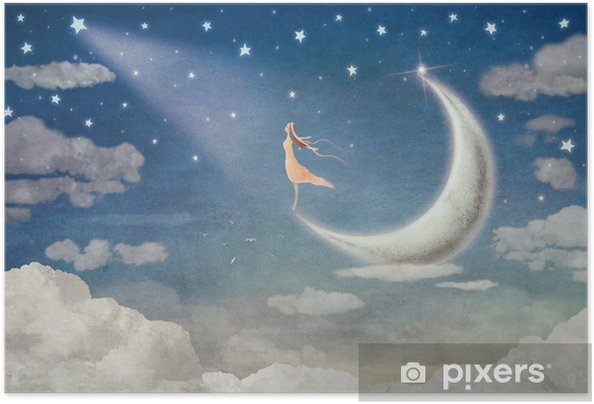 Zelfklevende Poster Meisje op maan bewondert de nachtelijke hemel - illustratie kunst - Gevoelens, Emoties en Staten van Geest