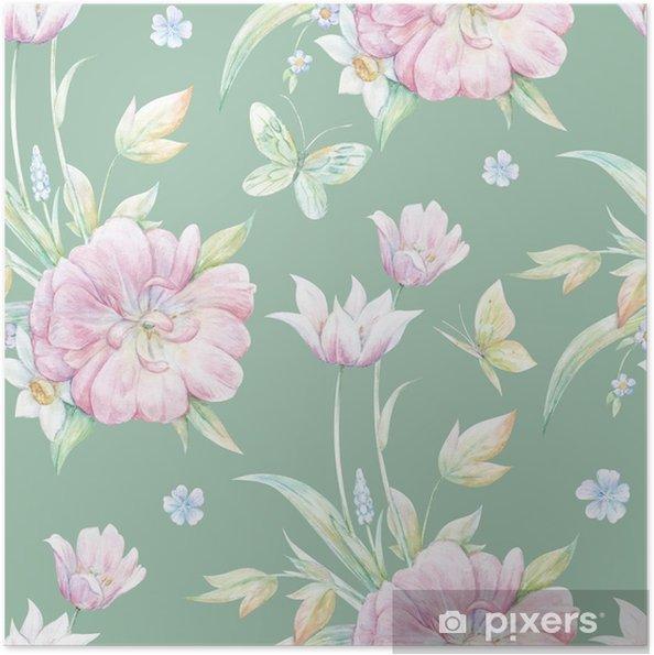 Zelfklevende Poster Naadloos patroon met roze tulp 2 - Grafische Bronnen