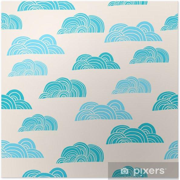Zelfklevende Poster Naadloze achtergrond met wolken - Thema's