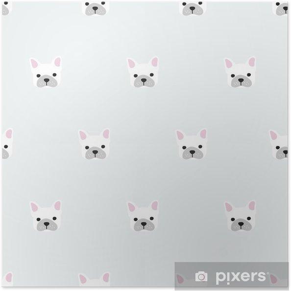 Zelfklevende Poster Naadloze franse bulldog patroon - Grafische Bronnen