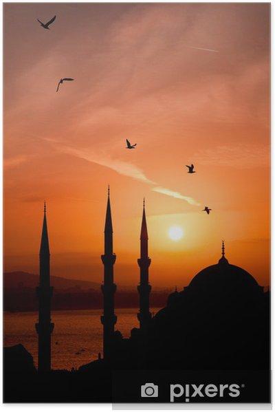 Zelfklevende Poster Nacht oog van de moskee, Istanbul - Religie