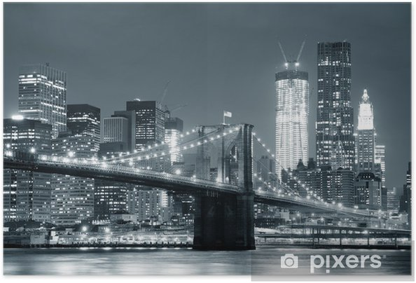 Zelfklevende Poster New York Brooklyn Bridge -