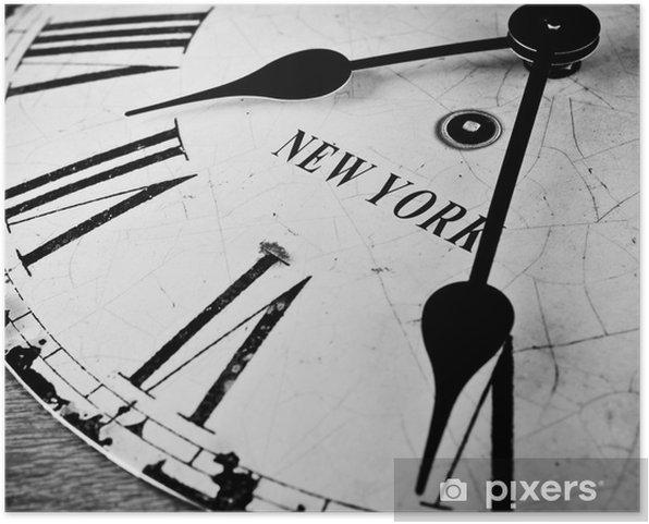 Zelfklevende Poster New York klok zwart en wit - Klokken