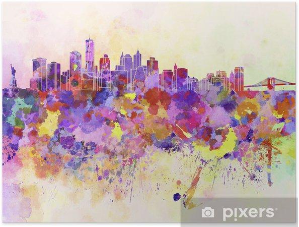 Zelfklevende Poster New York skyline in aquarel achtergrond - Stijlen