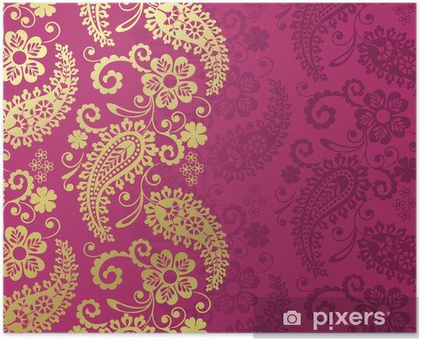 Zelfklevende Poster Paisley bloemmotief, textiel, Rajasthan, koninklijke India - Stijlen
