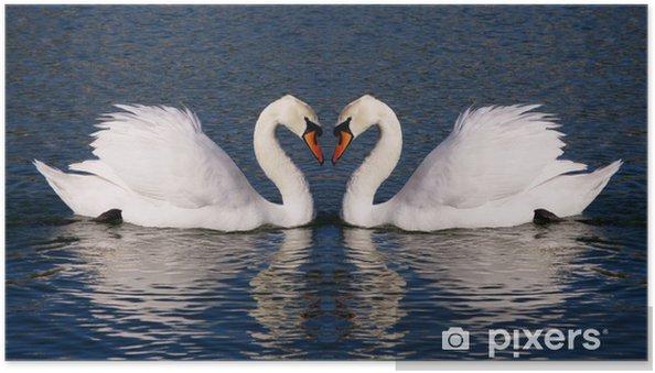 Zelfklevende Poster Retro foto van zwanen harten symbool van eeuwige liefde - Zwanen