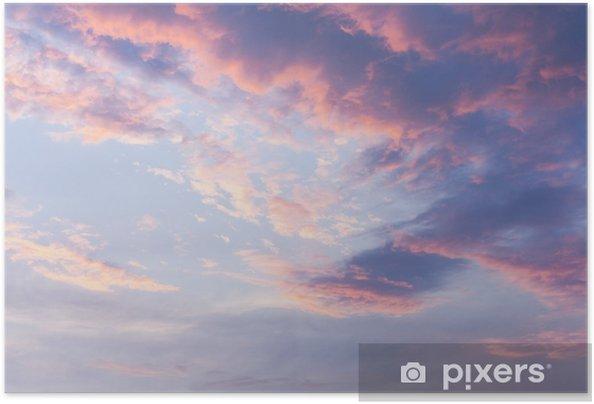 Zelfklevende Poster Roze wolken op blauwe zonsonderganghemel - Landschappen