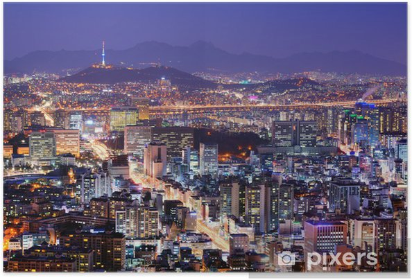 Zelfklevende Poster Seoul Skyline - Thema's