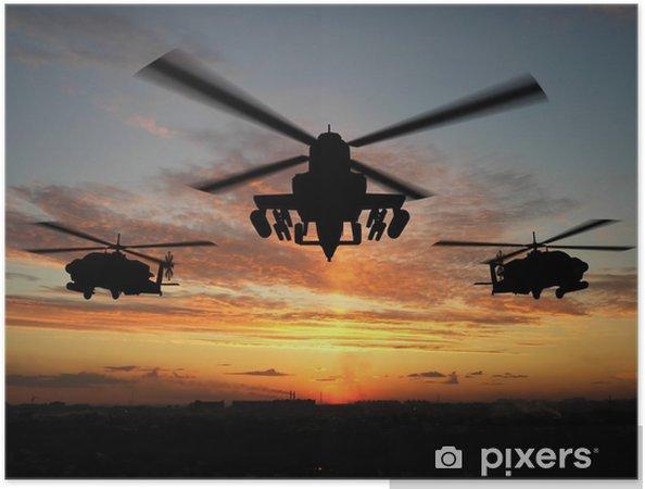 Zelfklevende Poster Silhouet van de helikopter - Thema's