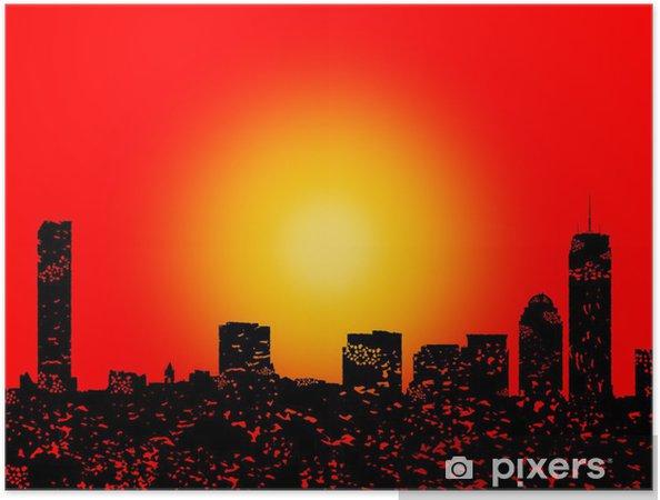 Zelfklevende Poster Skyline Grunge Boston met abstracte zonsondergang illustratie -