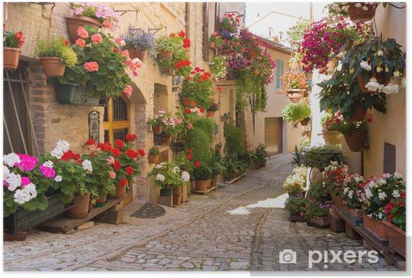 Zelfklevende Poster Steegje met bloemen, Spello -