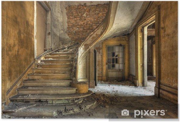 Zelfklevende Poster Stenen trap in een verlaten fabriek - Thema's