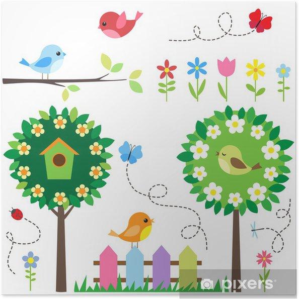 Zelfklevende Poster Tuinset met vogels, bloeiende bomen, bloemen en insecten. - Thema's