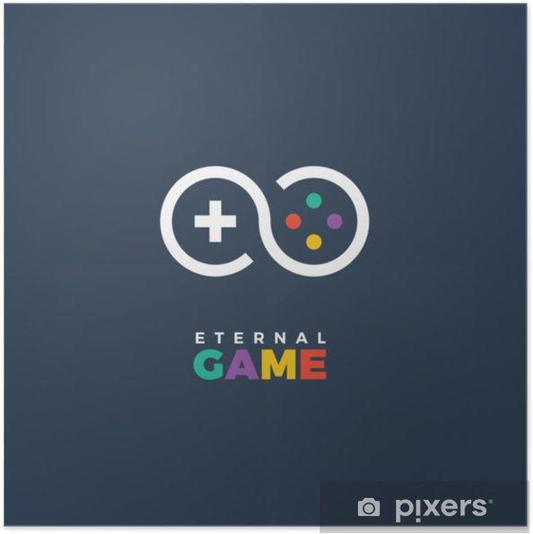Zelfklevende Poster Vector gestileerde lijntekeningen logo van gamepad. gaming concept. spel bedrijfslogo - Technologie