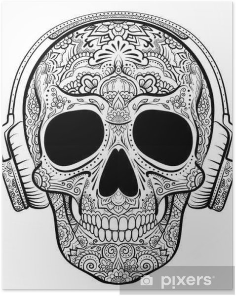Zelfklevende Poster Vector graphics schedel met florale ornamenten en oortelefoons - Grafische Bronnen