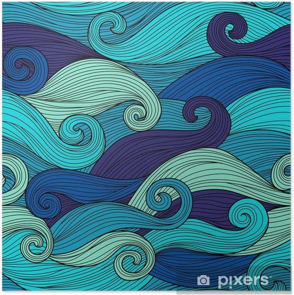 Zelfklevende Poster Vector naadloze patroon met abstracte golven - Landschappen