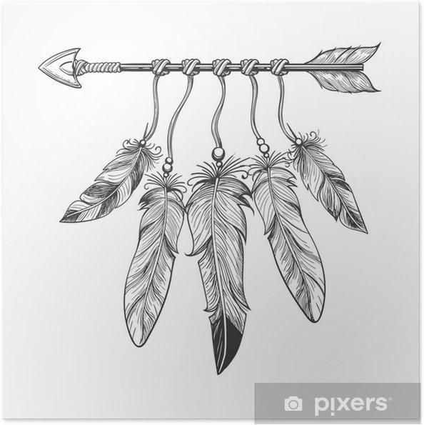 Zelfklevende Poster Vintage kerststal hand getrokken pijl met veren. Tribal boho indian dreamcatche talisman op een witte achtergrond. vector illustratie - Grafische Bronnen