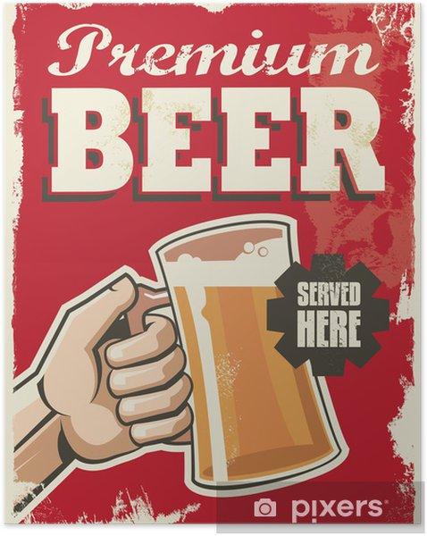 Zelfklevende Poster Vintage retro bier poster. Vector design reclamebord. - Verkoop