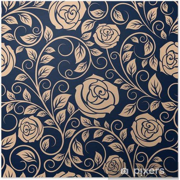Zelfklevende Poster Vintage rozen bloemen naadloos patroon - Achtergrond