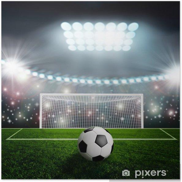 Zelfklevende Poster Voet bal op groene stadion arena - iStaging