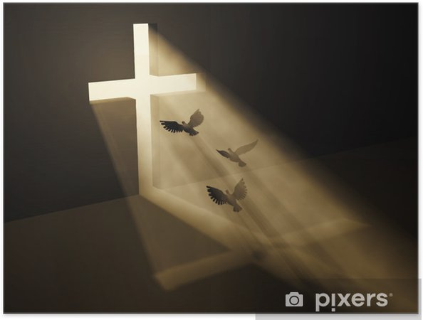 Zelfklevende Poster Vogels vliegen naar god van donker - Abstract