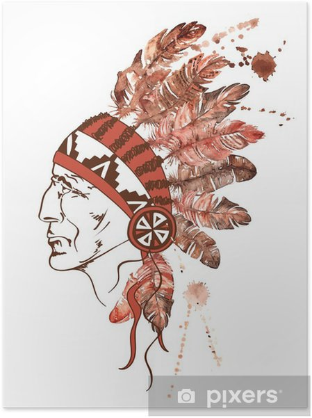 Zelfklevende Poster Waterverf het Native American Indiaanse opperhoofd - Mensen