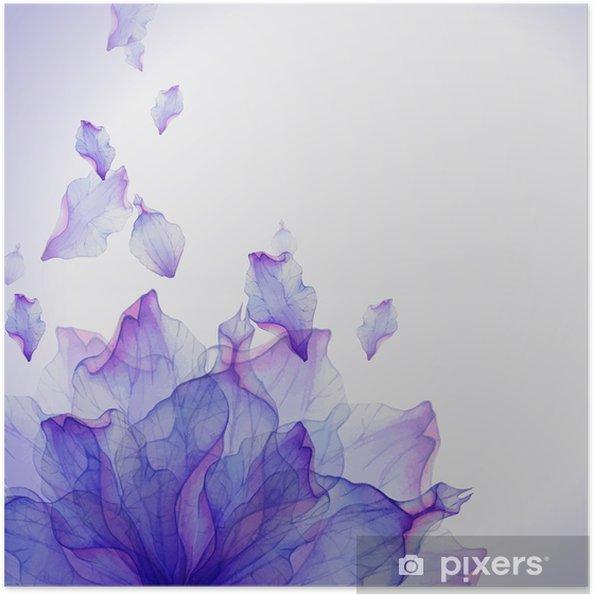 Zelfklevende Poster Waterverfkaart met Purper bloemblaadje - Bloemen en planten