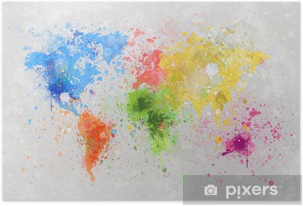 Zelfklevende Poster Wereldkaart schilderij -