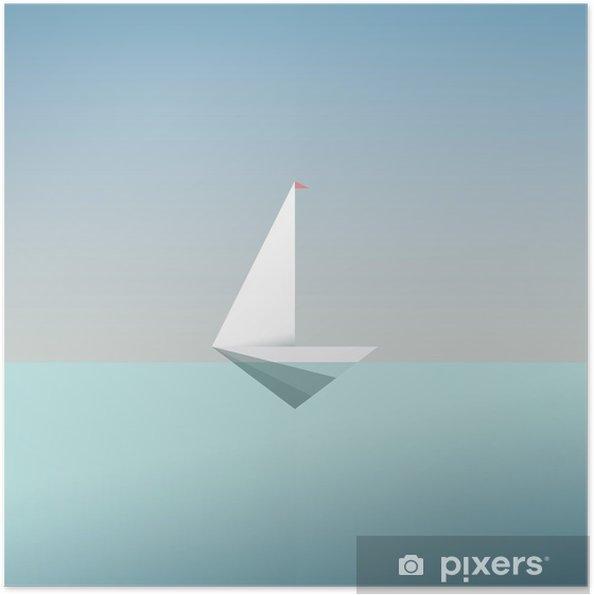 Zelfklevende Poster Yacht pictogram symbool in moderne laag poly stijl. Zomer vakantie of reizen vakantie achtergrond. Bedrijfs metafoor voor vrijheid en succes. - Grafische Bronnen