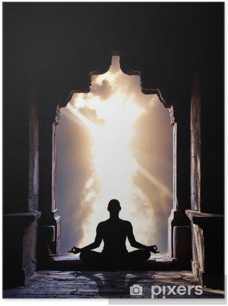 Zelfklevende Poster Yoga meditatie in tempel - Gezondheid