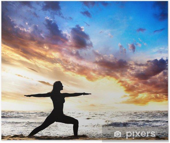 Zelfklevende Poster Yogasilhouet warrior II opleveren - Bestemmingen