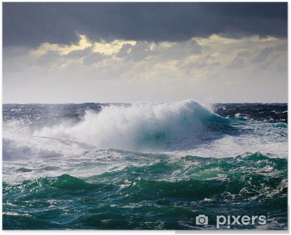 Zelfklevende Poster Zee Golf tijdens storm - Thema's