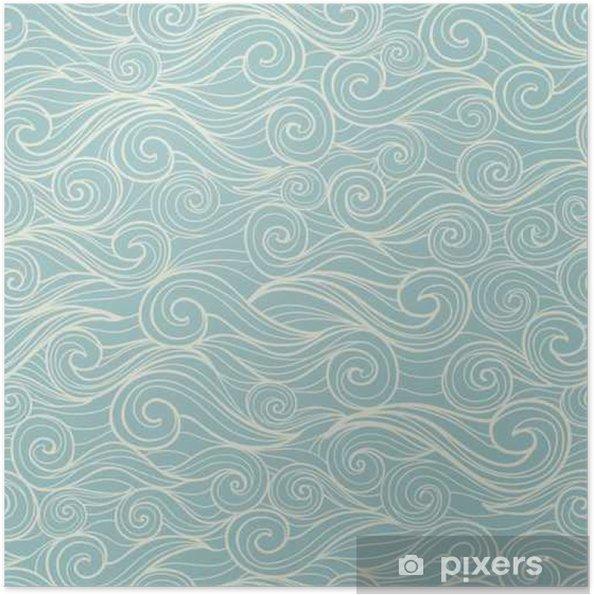 Zelfklevende Poster Zee golven naadloze patroon - Landschappen