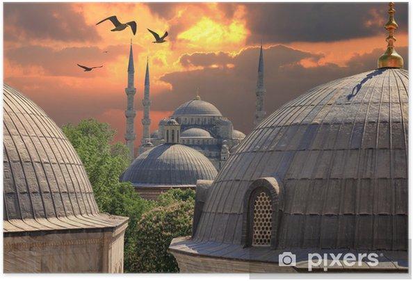 Zelfklevende Poster Zonsondergang in Istanbul. Blauwe Moskee in de verte - Stijlen