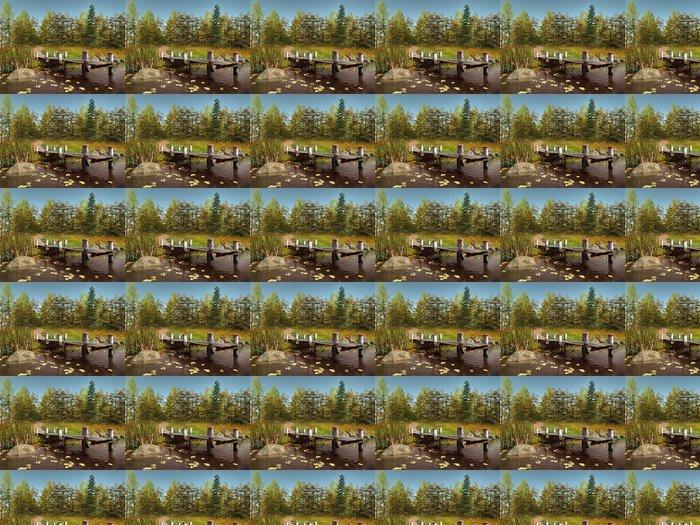 Vinylová Tapeta Molo na jezeře v podzimním lese - Roční období