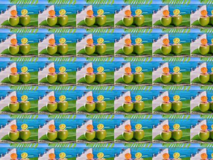 Vinylová Tapeta Kokosové ořechy slámy koktejly v tropické karibské moře molo - Amerika